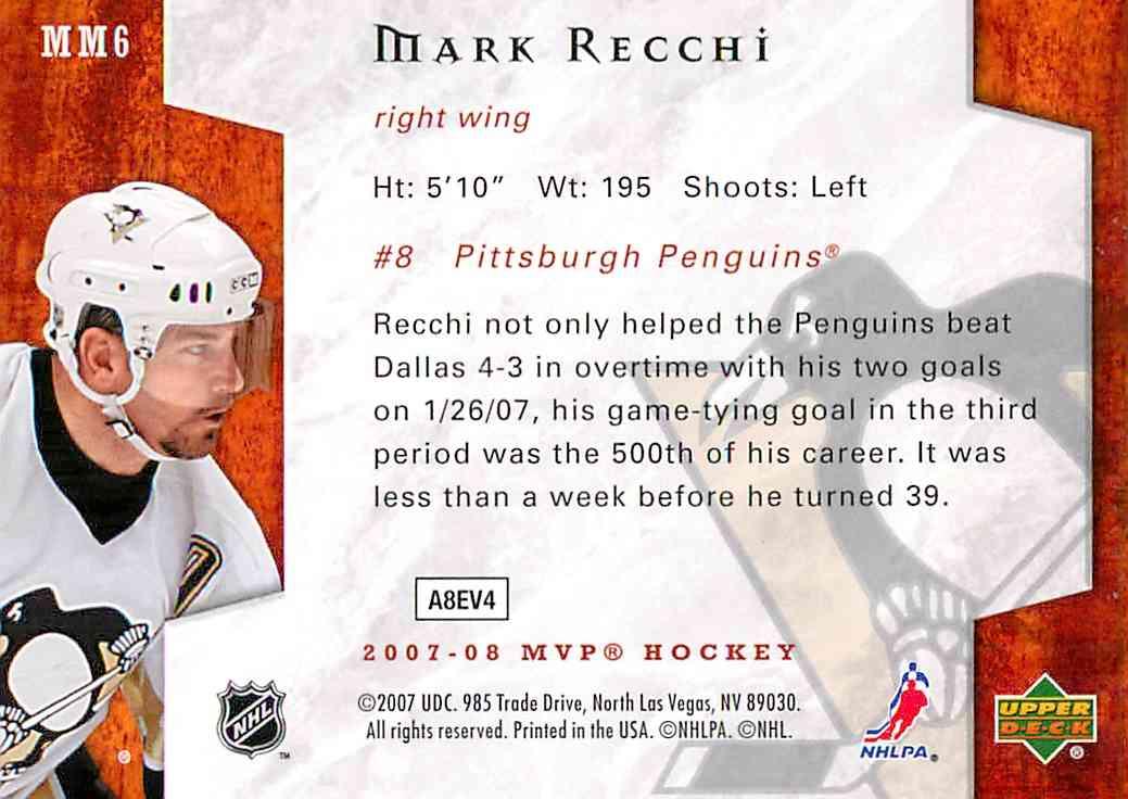 2007-08 Upper Deck Mvp Mark Recchi #MM6 card back image
