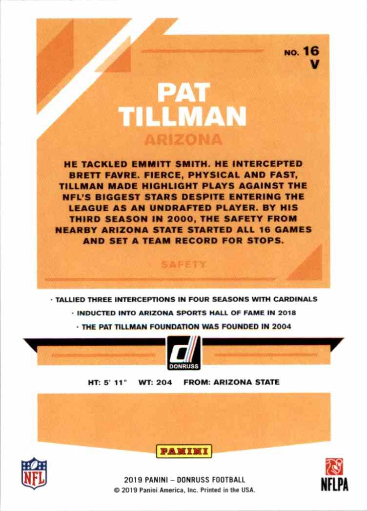 2019 Panini Donruss Pat Tillman #16V card back image