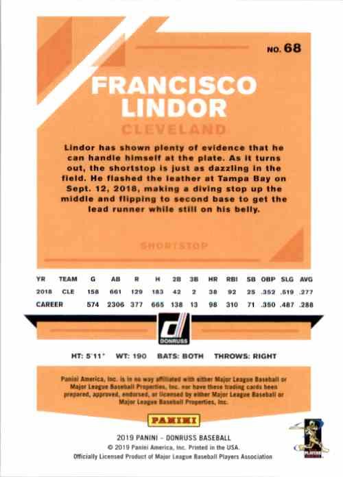 2019 Donruss Francisco Lindor #68 card back image