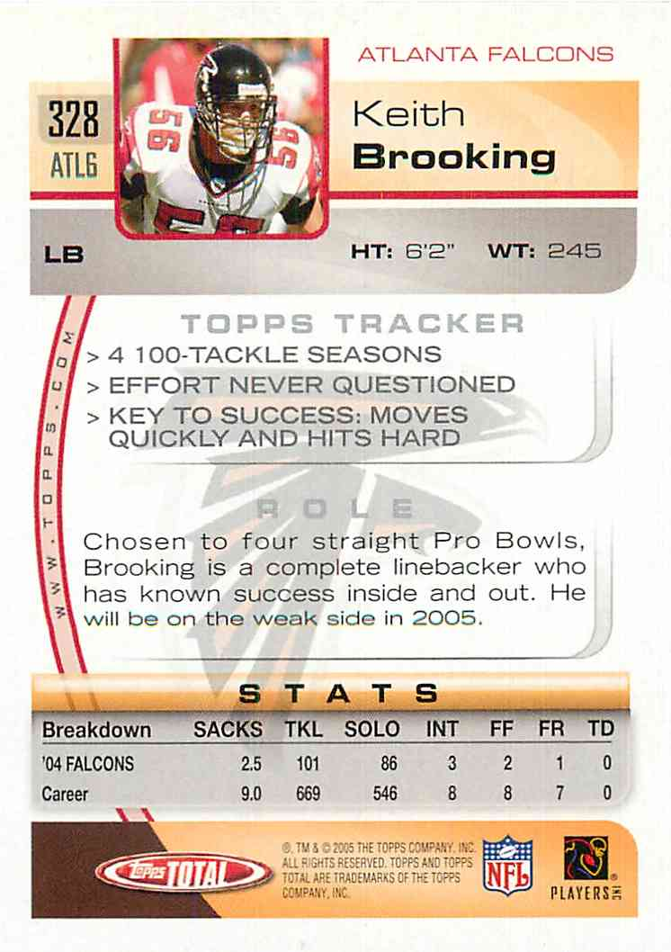 2005 Topps Total Keith Brooking #328 card back image