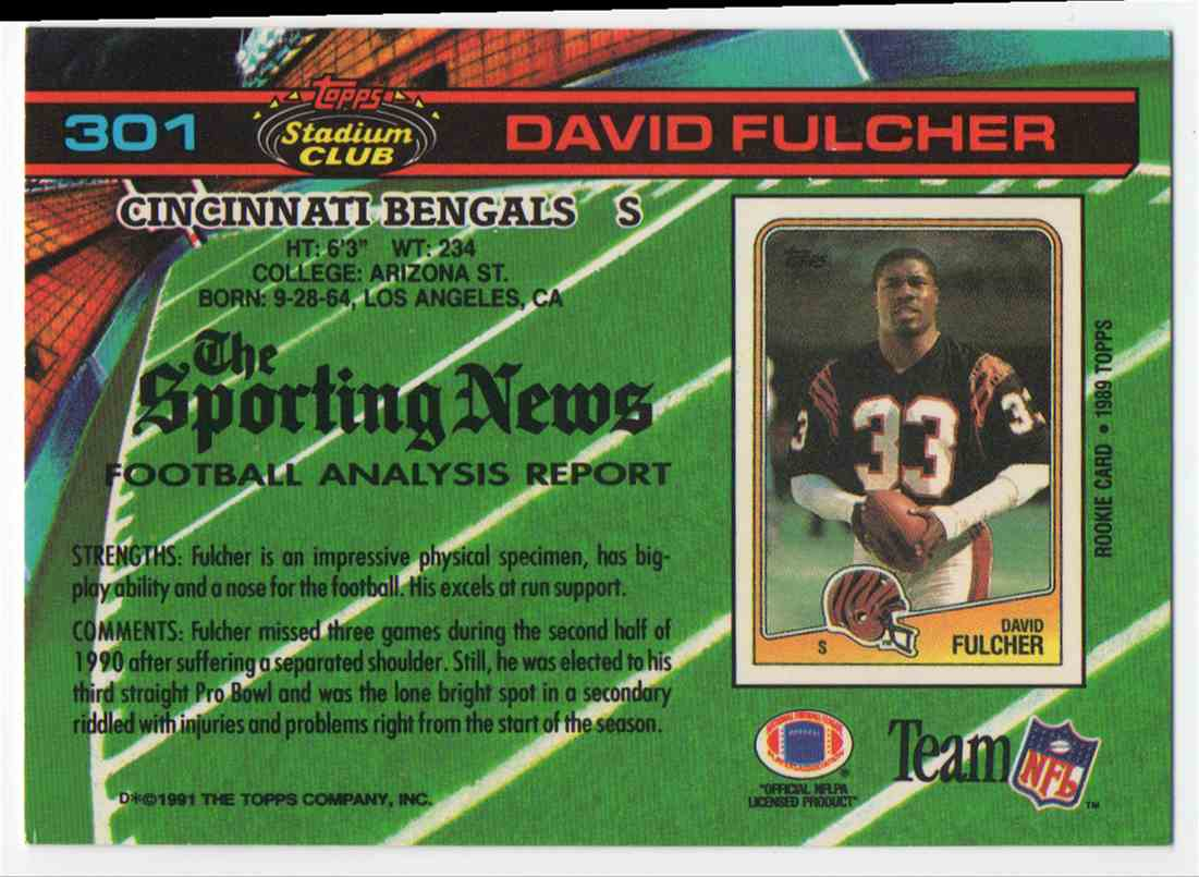 1991 Stadium Club David Fulcher #301 card back image