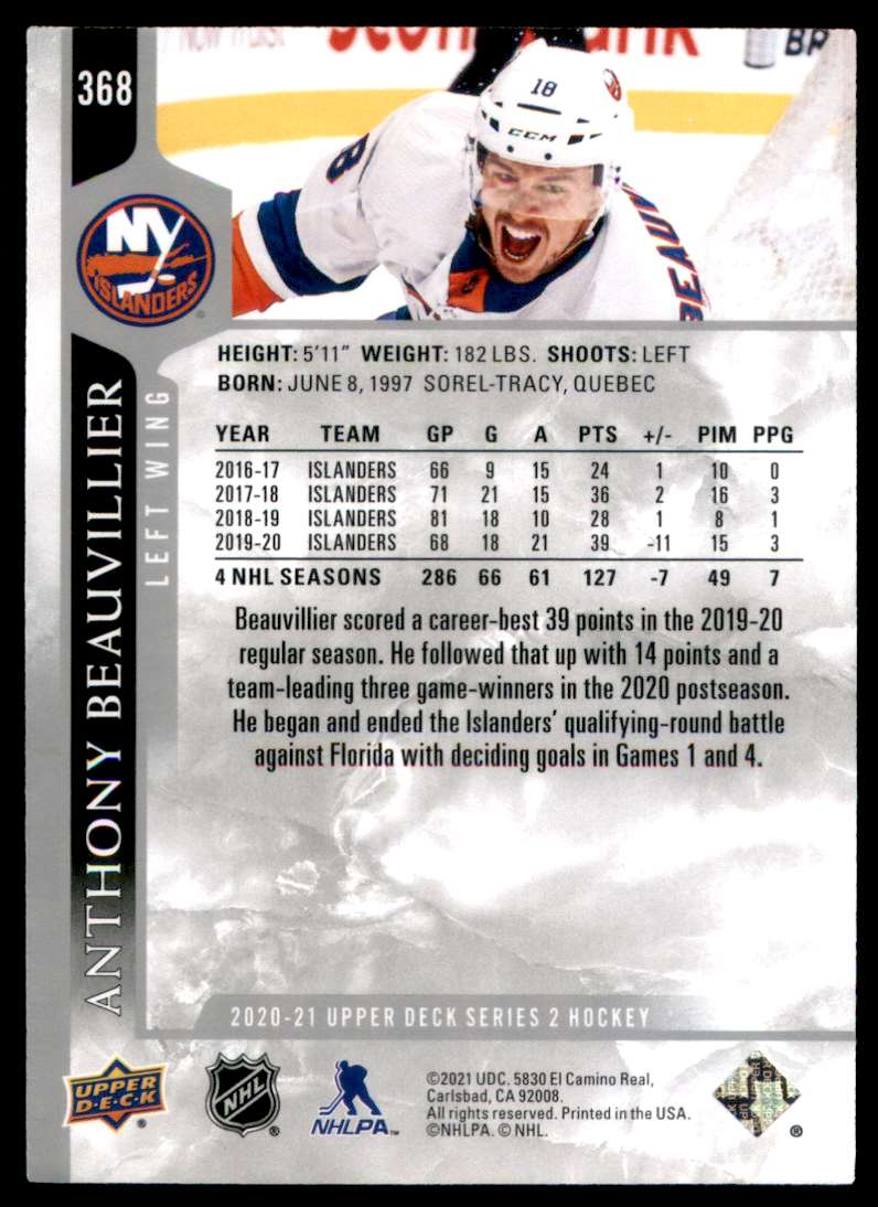 2020-21 Upper Deck Anthony Beauvillier #368 card back image