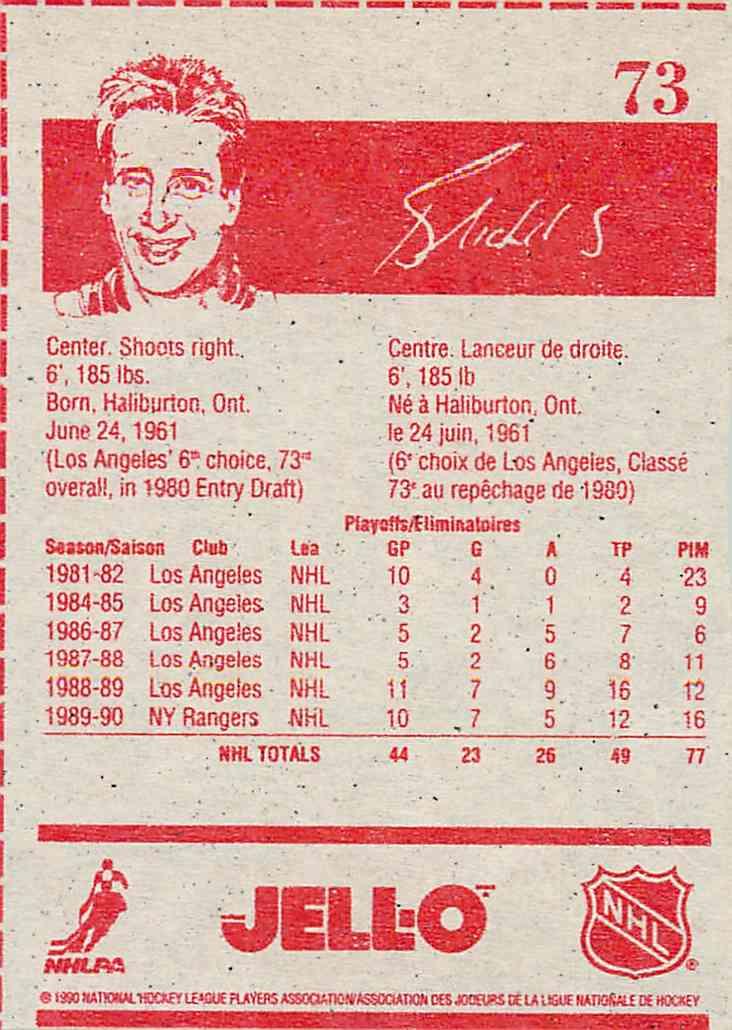 1990-91 Jell-O Bernie Nicholls #73 card back image