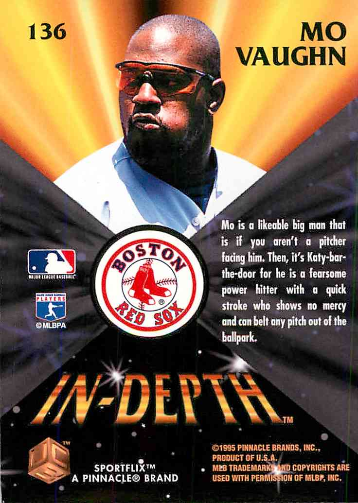 1995 Uc3 Mo Vaughn #136 card back image