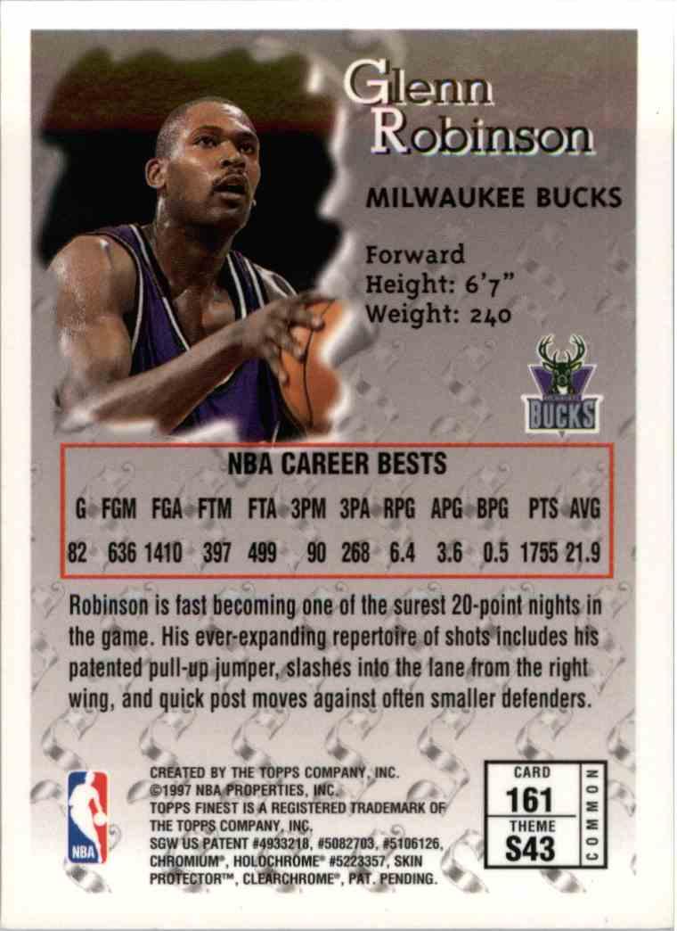 1997-98 Topps Finest Glenn Robinson #161 card back image
