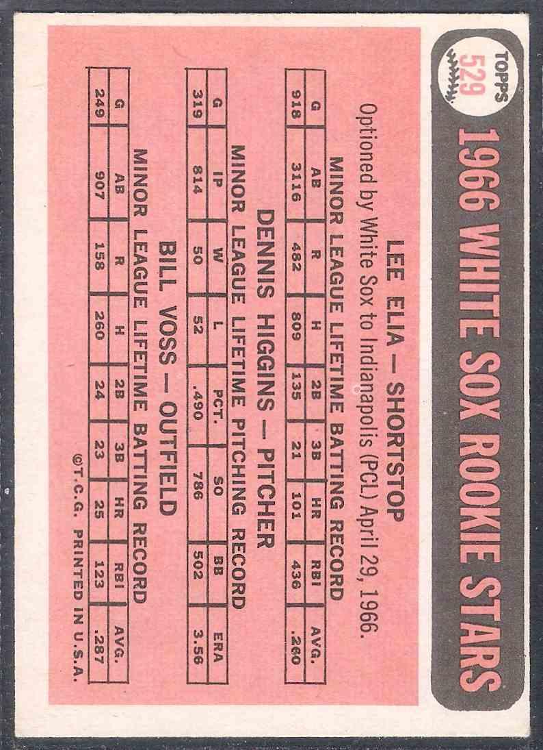 1966 Topps Lee Elia Dennis Higgins Bill Voss #529 card back image