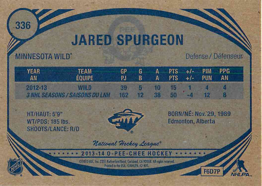 2013-14 Upper Deck O-Pee-Chee Jared Spurgeon #336 card back image