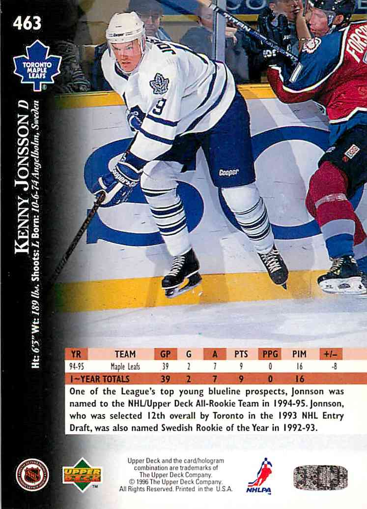 1995-96 Upper Deck Electric Ice Kenny Jonsson #463 card back image