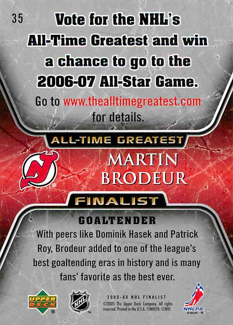 2005-06 Upper Deck All-Time Greatest Martin Brodeur #35 card back image