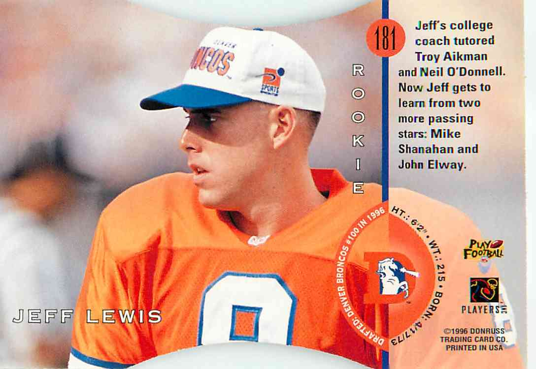 1996 Donruss Rookie Jeff Lewis #181 card back image