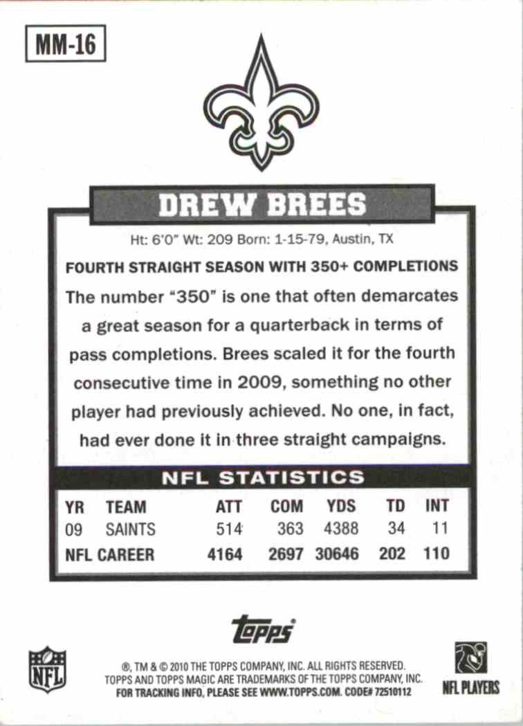 2010 Topps Magic Drew Brees #MM16 card back image