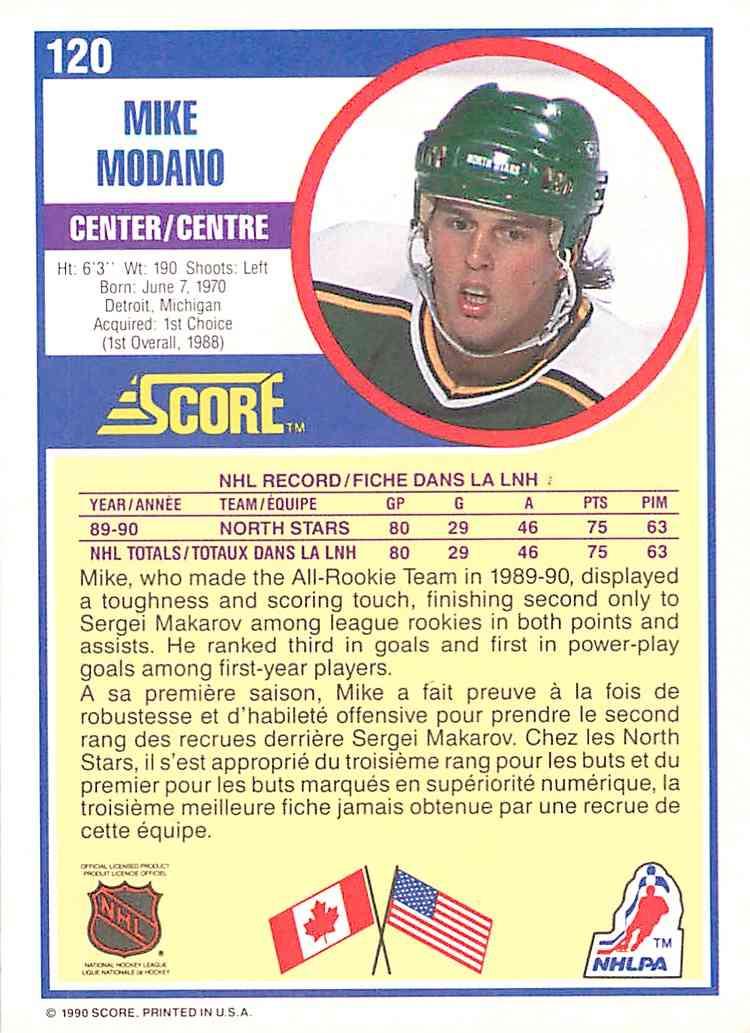 1990-91 Score Mike Modano #120 card back image