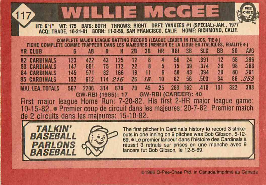 1985 O-Pee-Chee Willie Mcgee #117 card back image