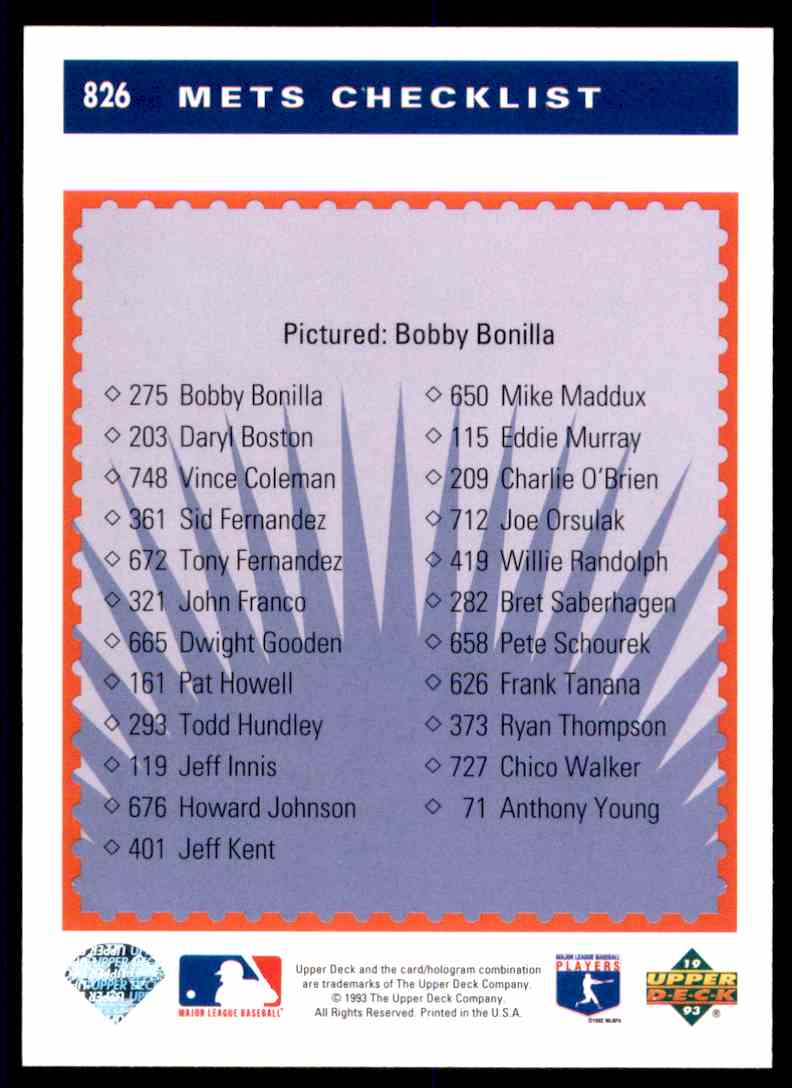 1993 Upper Deck Bobby Bonilla #826 card back image