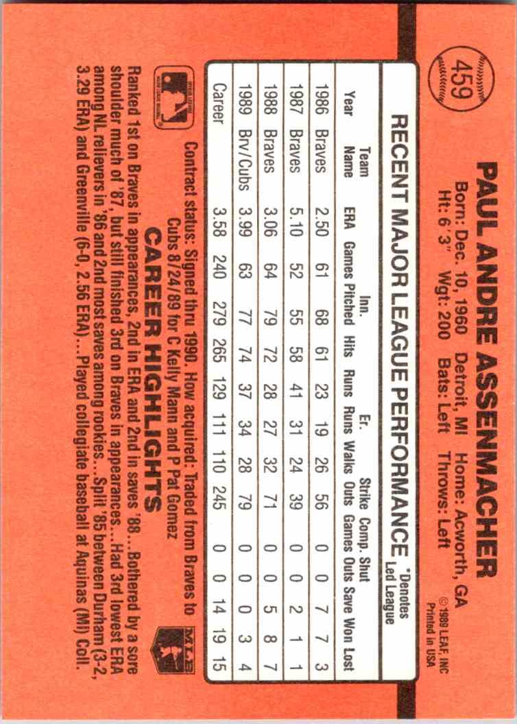 1990 Leaf Donruss Paul Assenmacher #459 card back image