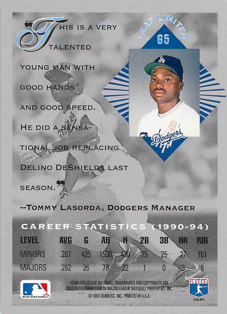 1994 Leaf Limited Rookies Garry Templeton #65 card back image
