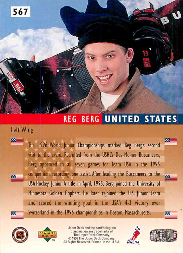 1995-96 Upper Deck Electric Ice Reg Berg #567 card back image