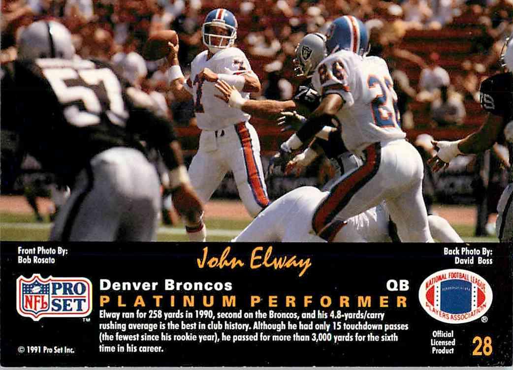 1991 Pro Set Platinum John Elway #28 card back image