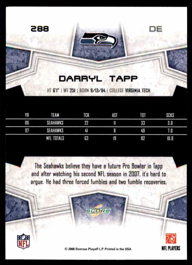 2008 Score Darryl Tapp #288 card back image