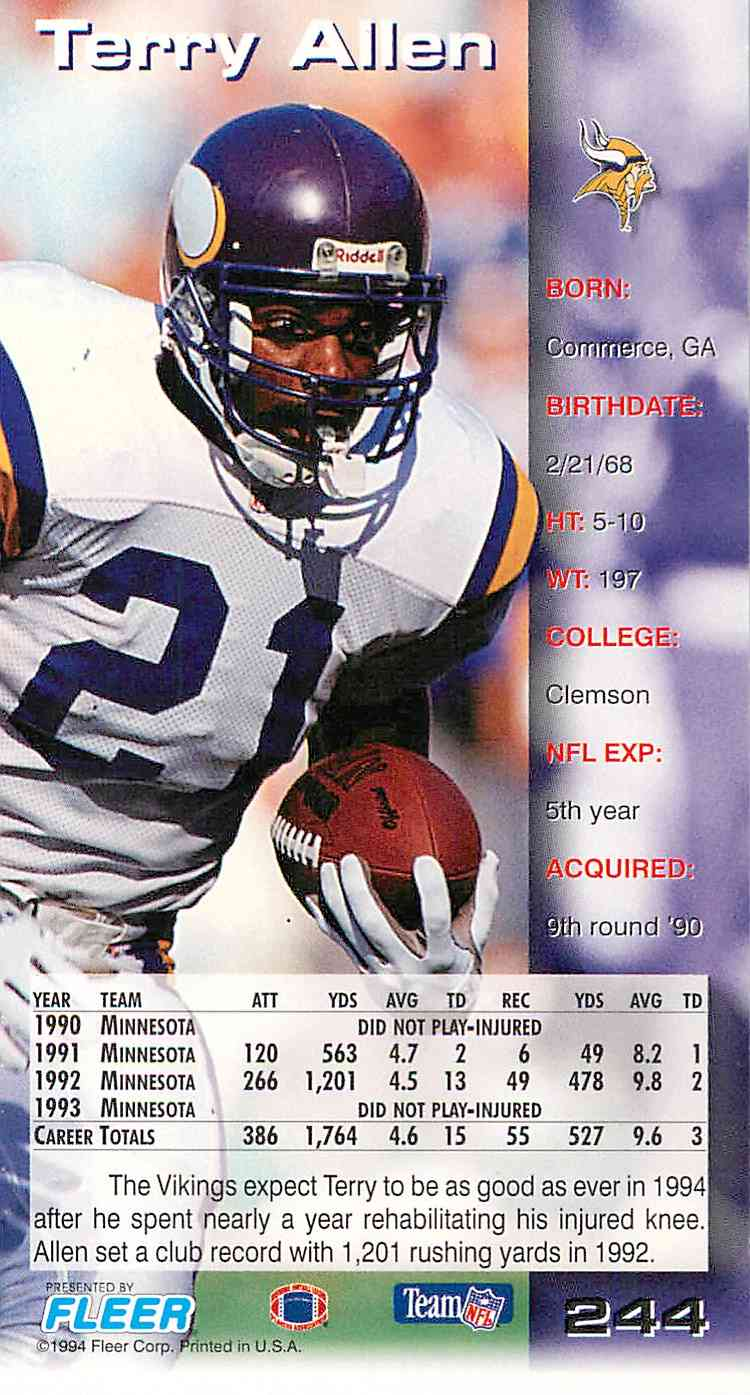 1994 Fleer Gameday Terry Allen #244 card back image