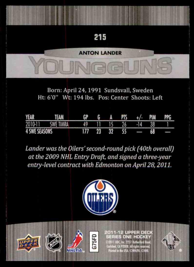 2011-12 Upper Deck Anton Lander #215 card back image