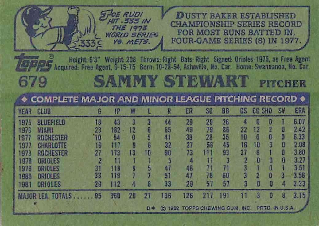 1982 Topps Sammy Stewart #679 card back image