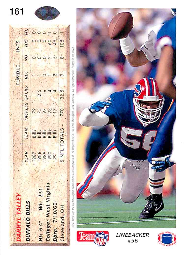 1992 Upper Deck Darryl Talley #161 card back image