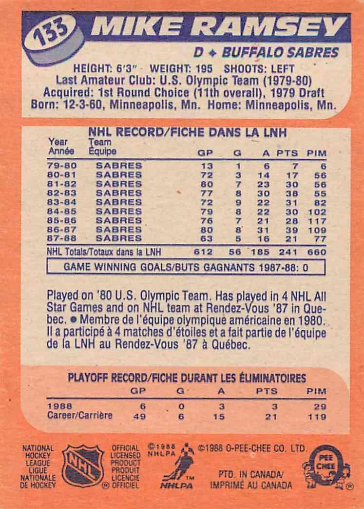 1988-89 O-Pee-Chee Mike Ramsey #133 card back image