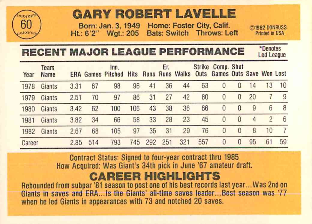 1983 Donruss Gary Lavelle #60 card back image