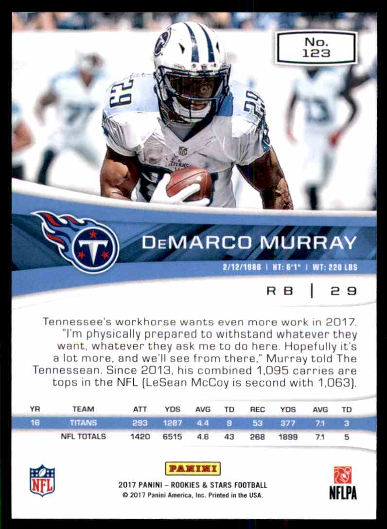 2017 Rookies And Stars DeMarco Murray #123 card back image