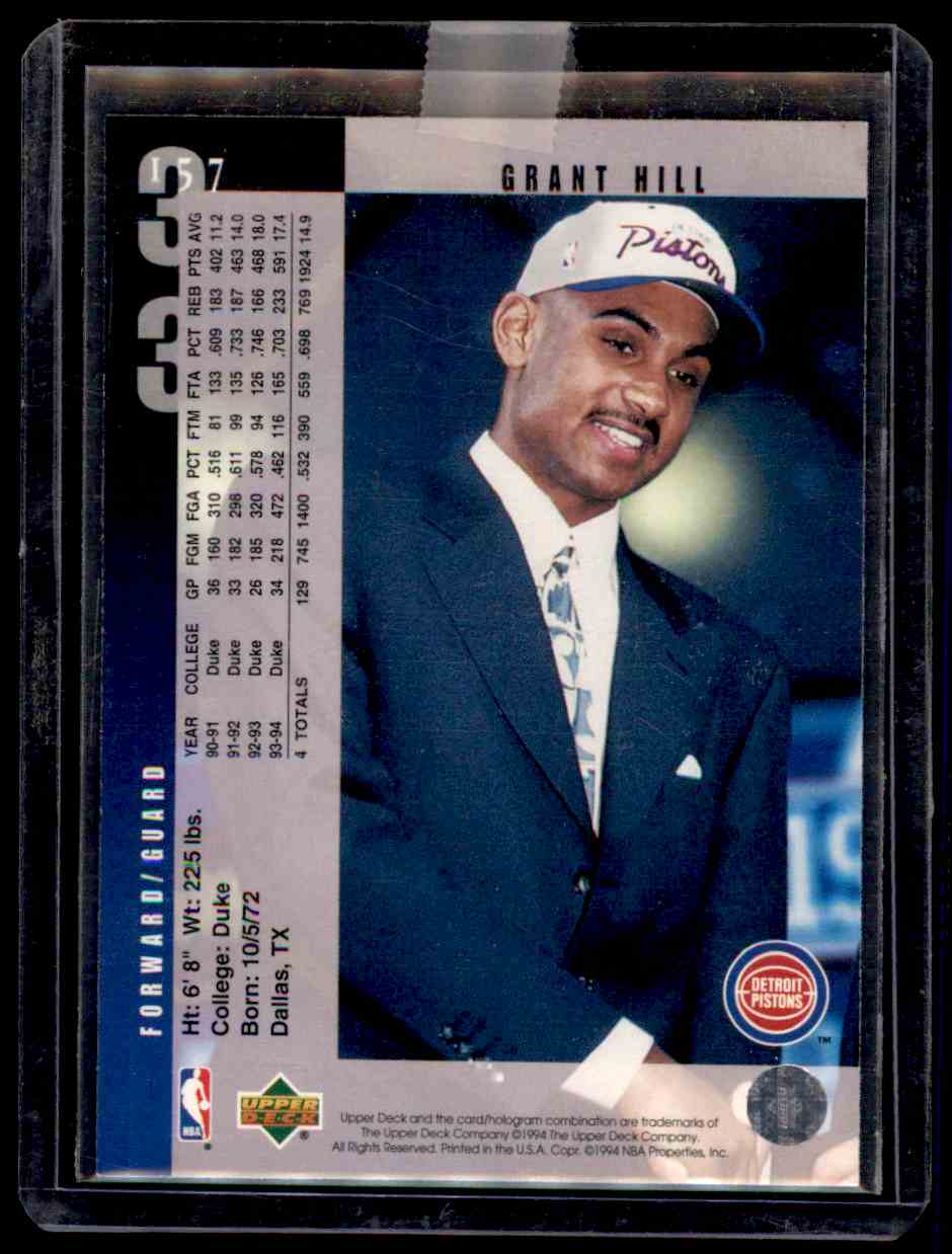 1994-95 Upper Deck Grant Hill #157 card back image