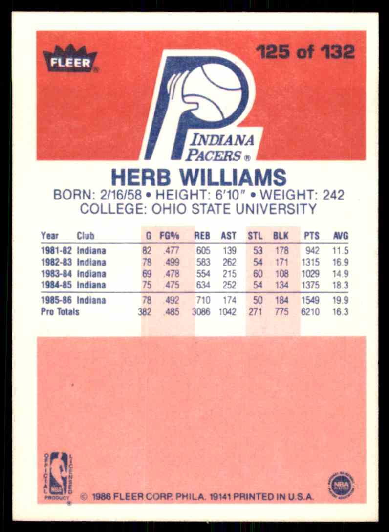 1986-87 Fleer Herb Williams-2 #125 OF 132 card back image