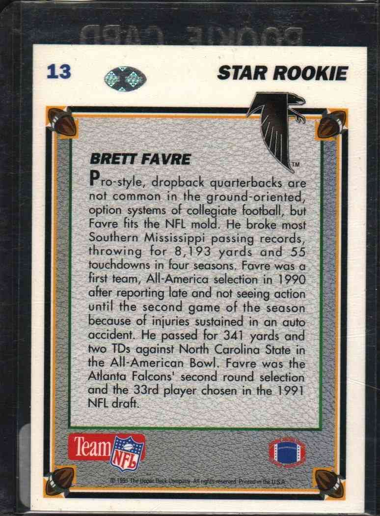 1991 Upper Deck Star Rookie Brett Favre #13 card back image