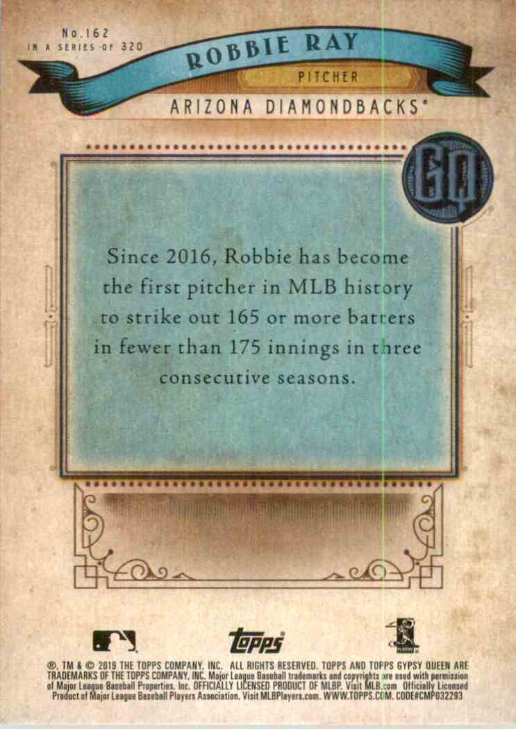 2019 Topps Gypsy Queen Robbie Ray #162 card back image