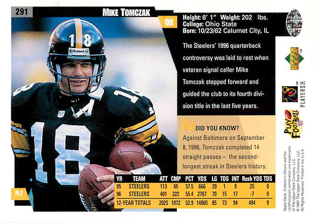 1997 Upper Deck Collector's Choice Mike Tomczak #291 card back image