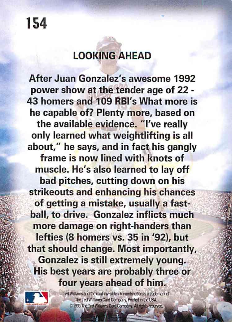 1992 Ballstreet Juan Gonzalez #154 card back image