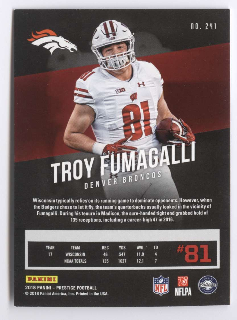 2018 Panini Prestige Extra Points Purple Troy Fumagalli #241 card back image