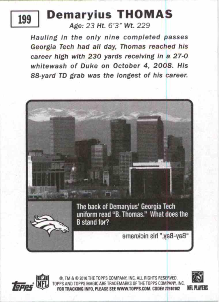 2010 Topps Magic Demaryius Thomas #199 card back image