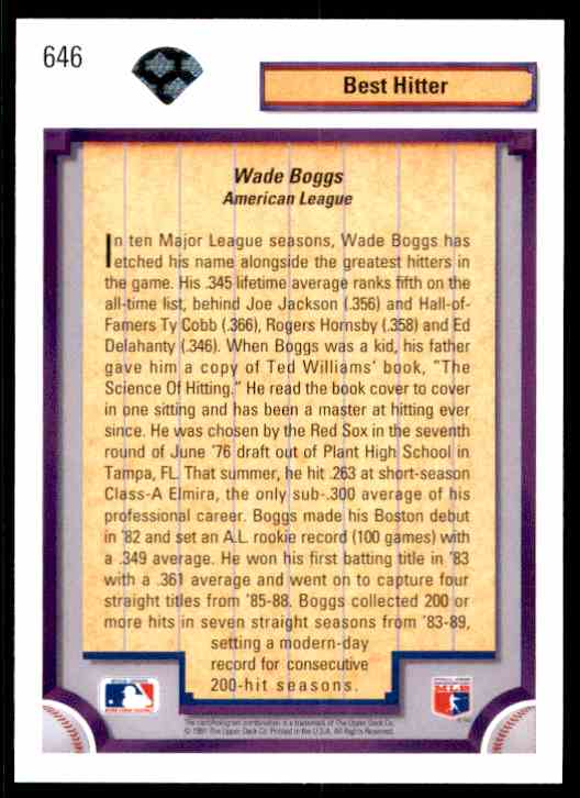 1992 Upper Deck Wade Boggs #646 card back image