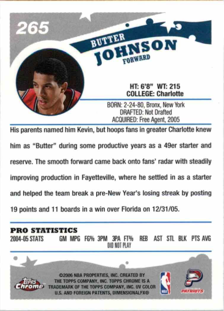 2006-07 Topps Chrome Butter Johnson #265 card back image