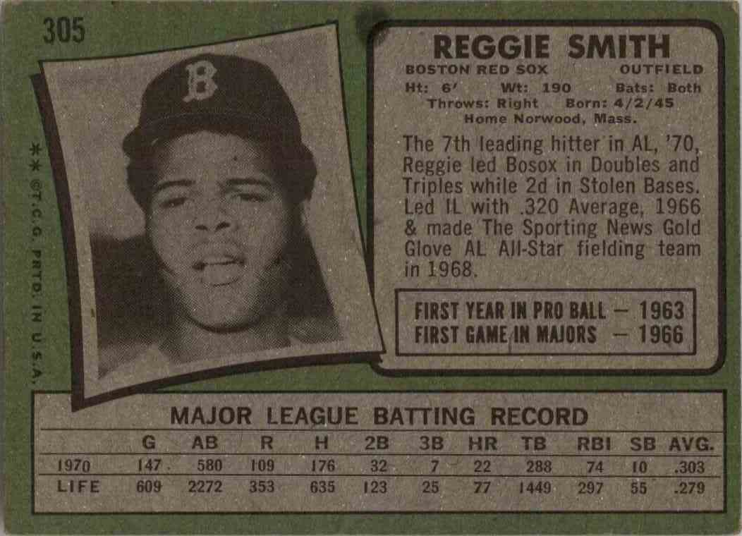 1971 Topps Reggie Smith #305 card back image