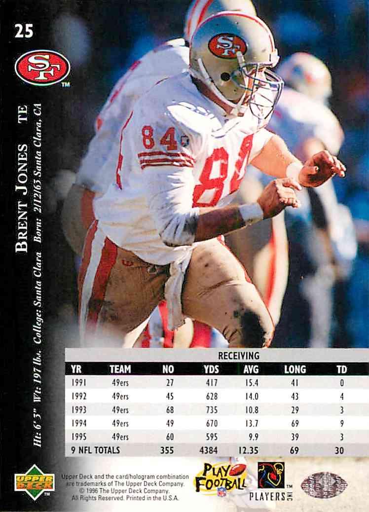 1996 Upper Deck Silver Brent Jones #25 card back image