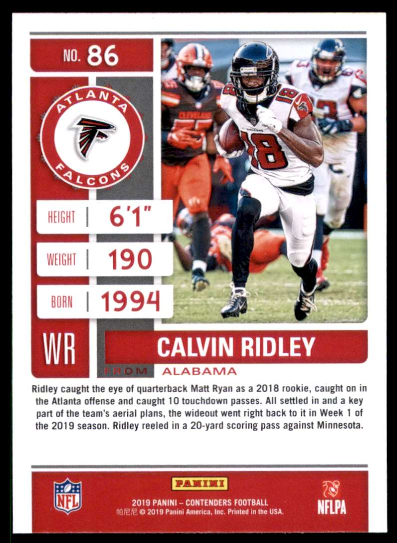 2019 Panini Contenders Calvin Ridley #86 card back image