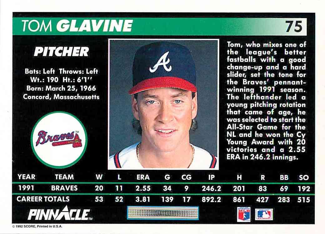 1992 Pinnacle Tom Glavine #75 card back image