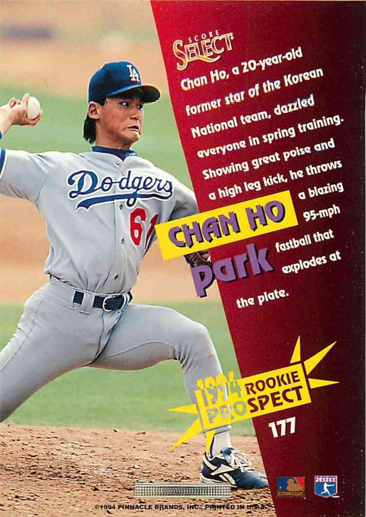 1994 Pinnacle Rookie Prospect Chan Ho Park #177 card back image