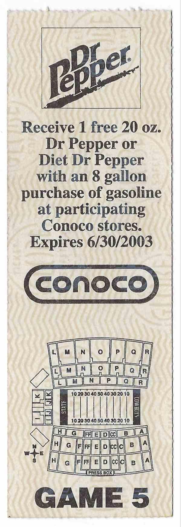 2002 College Football Ticket Stub Texas A&M Vs Oklahoma State card back image