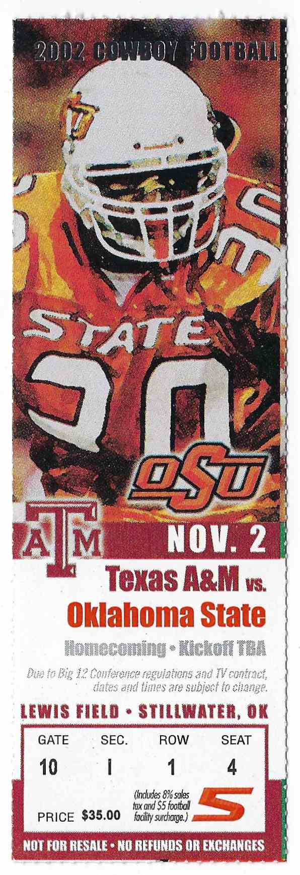 2002 College Football Ticket Stub Texas A&M Vs Oklahoma State card front image