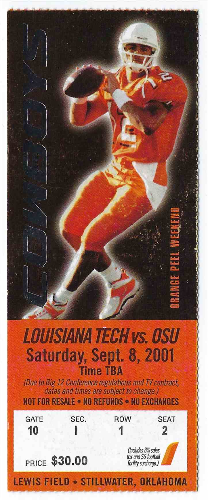 2001 College Football Ticket Stub Louisiana Tech Vs Oklahoma State card front image