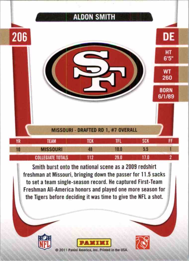 2011 Prestige Xtra Aldon Smith #206 card back image