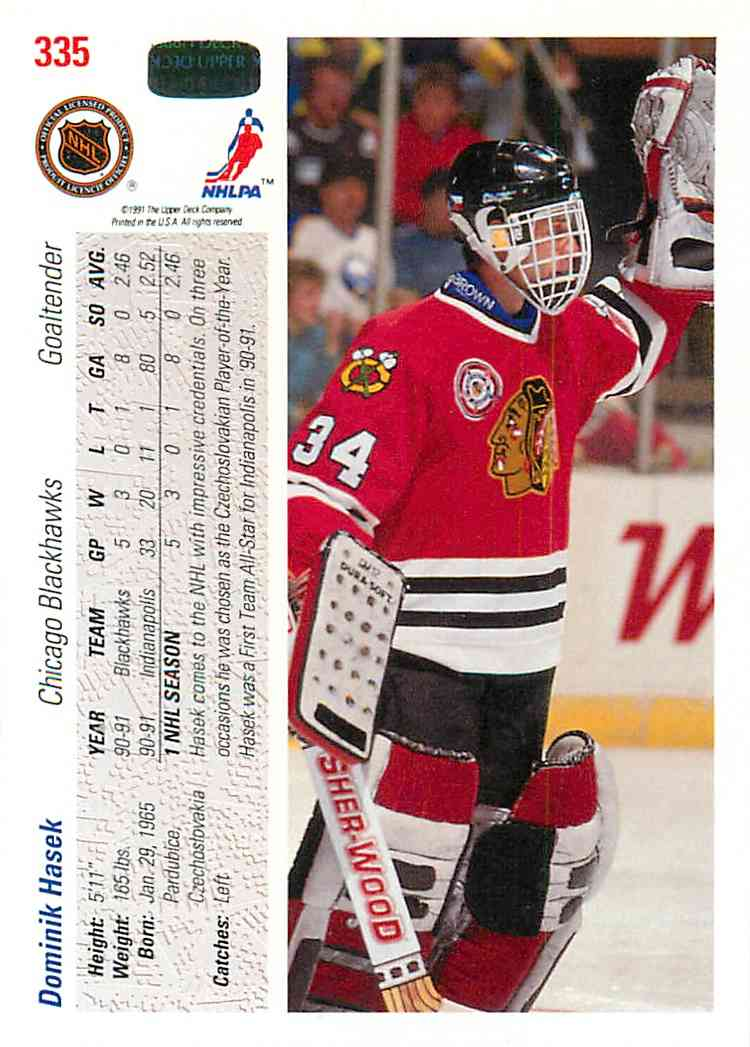 1991-92 Upper Deck Dominik Hasek #335 card back image